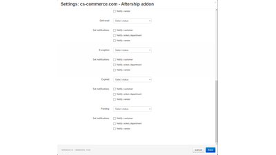 Aftership webhook - change order statuses automatically - add-on for CS-Cart